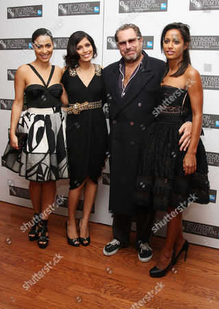 Stock Picture of Premiere of 'Miral' During the London Film Festival at the Vue Leicester Square Screenwriter Rula Jebreal and Actress Frieda Pinto Director Julian Schnabel and Yasmine Elmasri