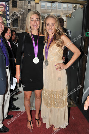 Olympic Party at Maison De Monaco Haymarket Jennifer Kessy and April Ross (us Silver Medal Winners in Beach Volleyball)