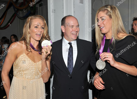 Prince Albert of Monaco Hosts an Olympic Party at Maison De Monaco Haymarket Jennifer Kessy and April Ross (us Silver Medal Winners in Beach Volleyball) with Prince Albert of Monaco