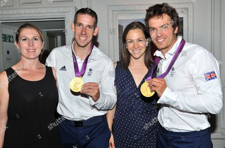 Olympic Party at Maison De Monaco Haymarket Etienne Stott and Tim Baillie (gold Medal Winners in Canoe Double at the London 2012 Olympics) with Their Partners