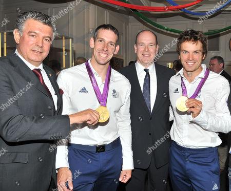 Prince Albert of Monaco Hosts an Olympic Party at Maison De Monaco Haymarket Joel Bouzou Etienne Stout and Tim Baillie (gold Medal Winners in Canoe Double) and Prince Albert of Monaco