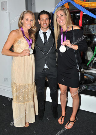 Olympic Party at Maison De Monaco Haymarket Jennifer Kessy and April Ross (us Silver Medal Winners in Beach Volleyball) with Ollie Locke