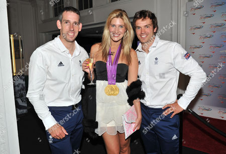 Olympic Party at Maison De Monaco Haymarket Cheska Hull with Etienne Stott and Tim Baillie (gold Medal Winner in Canoe Double)