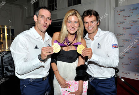 Stock Picture of Olympic Party at Maison De Monaco Haymarket Cheska Hull with Etienne Stott and Tim Baillie (gold Medal Winner in Canoe Double)