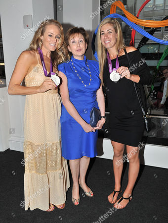 Olympic Party at Maison De Monaco Haymarket Jennifer Kessy and April Ross (us Silver Medal Winners in Beach Volleyball) with Evelyne Genta (consul General of Monaco in the Uk)