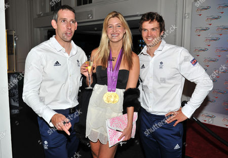 Stock Image of Olympic Party at Maison De Monaco Haymarket Cheska Hull with Etienne Stott and Tim Baillie (gold Medal Winner in Canoe Double)