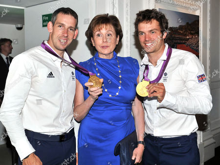 Olympic Party at Maison De Monaco Haymarket Etienne Stott and Tim Baillie (gold Medal Winners in Canoe Double at the London 2012 Olympics) with Evelyne Genta (consul General of Monaco in the Uk)