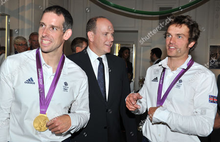 Prince Albert of Monaco Hosts an Olympic Party at Maison De Monaco Haymarket Etienne Stott and Tim Baillie (gold Medal Winners in Canoe Double at the London 2012 Olympics) with Prince Albert of Monaco