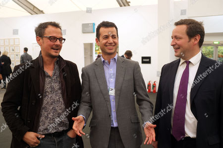 Private View at the Frieze Art Fair in Regents Park London Jonathan Yeo Matthew Slotover & Ed Vaizey