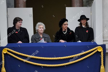 Remembrance Sunday Service at the Cenotaph Whitehall Westminster London Mrs Irene Pickles (l) Mrs Gillian Clarke (2l) Mrs Mary Cameron (2r) Samantha Cameron (r)