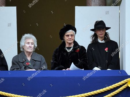 Remembrance Sunday Service at the Cenotaph Whitehall Westminster London Mrs Gillian Clarke (l) Mrs Mary Cameron (c) Samantha Cameron (r)