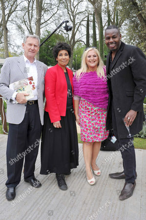 Stock Picture of Rhs Chelsea Flower Show Press Preview Day at the Royal Hospital Chelsea Moira Stewart and Vanessa Feltz with Her Husband Ben Ofoedu