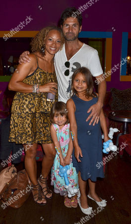 Smurfs 3d Gala Premiere and Tea Party at the Soho Hotel Angela Griffin with Her Husband Jason Milligan and Their Daughters Tallulah and Melissa