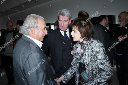 Sunday Times Magazine 50th Anniversary Exhibition Private View at the Saatchi Gallery Philip Green Jeremy Paxman and Marjorie Wallace