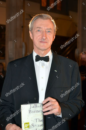 The 2011 Man Booker Prize For Fiction at the Guildhall City of London This Year's Winner Julian Barnes with His Book the Sense of an Ending