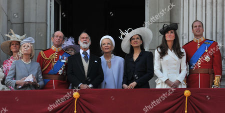 Stock Image of Trooping of the Colour - Balcony Scenes Katharine Duchess of Kent Julia Ogilvy Prince Edward Duke of Kent Prince and Princess Michael of Kent Sophie Winkleman Lady Windsor William the Duke and Catherine Duchess of Cambridge