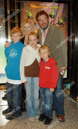 Uk Charity Premiere of 'Flushed Away' at the Empire Leicester Square Rowland Rivron with His Family