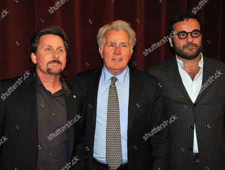 Stock Image of Uk Premiere of 'The Way' at the Bfi Southbank Martin Sheen with His Son the Director Emilio Estevez and the Producer David Alexanian