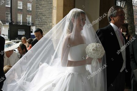 Wedding at St Paul's Church Knightsbridge the Bride Chloe Delevigne Arrives at the Church with Her Father Charles Delevigne