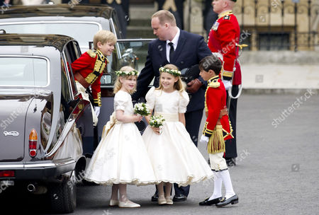 Wedding of William Prince of Wales to Catherine Middleton at Westminster Abbey (l-r) Tom Pettifer Lady Louise Windsor Eliza Lopes and William (billy) Lowther-pinkerton