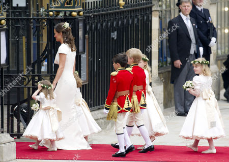 Wedding of William Prince of Wales to Catherine Middleton at Westminster Abbey Pippa Middleton Arrives with the Bridesmaids and Pageboys - Tom Pettifer (blonde) and William (billy) Lowther-pinkerton with Eliza Lopes Margarita Armstrong-jones Grace Van Cutsem and Lady Louise Windsor