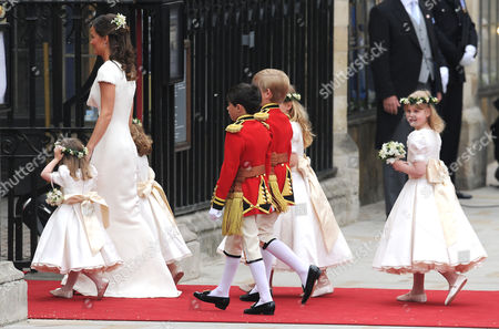 Wedding of William Prince of Wales to Kate Middleton at Westminster Abbey Pippa Middleton Arrives with the Bridesmaids and Pageboys - Tom Pettifer (blonde) and William (billy) Lowther-pinkerton with Eliza Lopes Margarita Armstrong-j