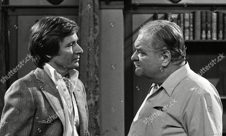 Stock Photo of William Roache (as Ken Barlow) and Wensley Pithey (as Wilfred Perkins) (Episode 1312 - 13th August 1973).