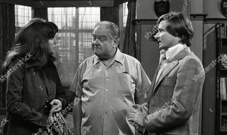 Stock Image of Joanna Lumley (as Elaine Perkins) Wensley Pithey (as Wilfred Perkins) and William Roache (as Ken Barlow) (Episode 1312 - 13th August 1973).