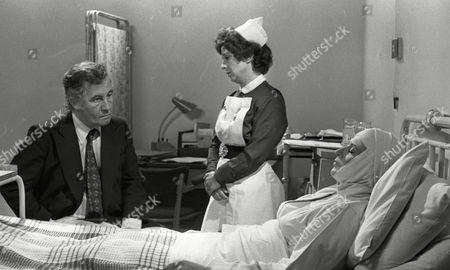 Alan Browning (as Alan Howard) Sheila Bernette (as Sister Delaney) and Pat Phoenix (as Elsie Howard) (Episode 1312 - 13th August 1973).