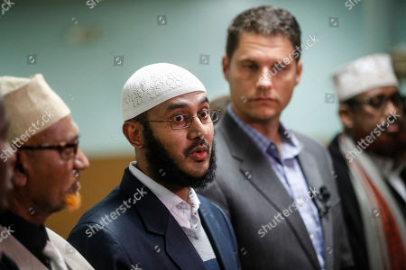 Stock Picture of Ahmed Ahmed, Zach Klein Ahmed Ahmed, director of the Ibnu Taymaya Masjid & Islamic Center, speaks alongside Columbus City Council president Zach Klein, center right, at a news conference in his mosque, in Columbus, Ohio, following an attack at The Ohio State University campus the previous day. Investigators are looking into whether a car-and-knife attack at Ohio State University that injured several people was an act of terror by a student who had once criticized the media for its portrayal of Muslims