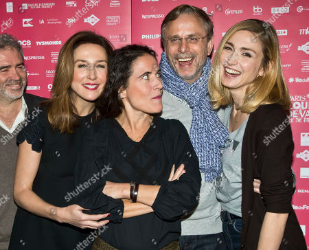 French jury members from left, actress Elsa Zylberstein, writer Mazarine Pingeot, French actor Christophe Rossignon and President of the jury actress Julie Gayet pose during a photo call at the short film festival Courts Devant in Paris