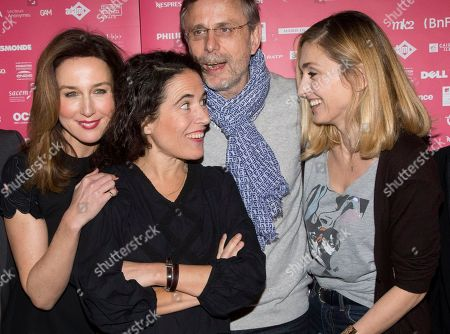 French jury members from left, actress Elsa Zylberstein, writer Mazarine Pingeot, the daughter of late French President Francois Mitterrand, actor Christophe Rossignon and President of the jury actress Julie Gayet pose for photographers during a photo call for the Jury at the short film festival Courts Devant in Paris