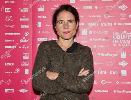 Jury member French writer Mazarine Pingeot, the daughter of late French President Francois Mitterrand, poses during a photo call for the Jury at the short film festival Courts Devant in Paris