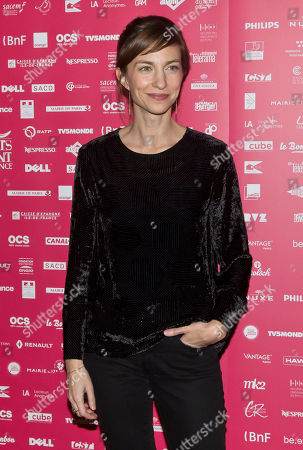 Jury member French actress Emilie Caen poses during a photo call for the Jury at the short film festival Courts Devant in Paris
