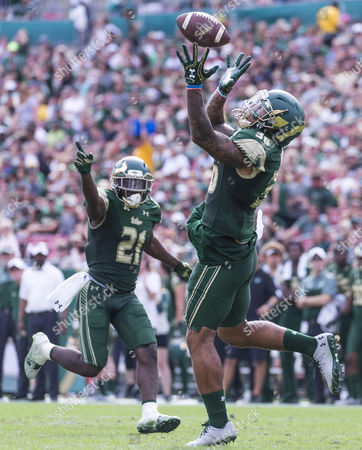 South Florida Bulls defensive back Nate Godwin (36) with the interception in the 3rd quarter in the game between the Central Florida Knights and the South Florida Bulls at Raymond James Stadium in Tampa, Florida