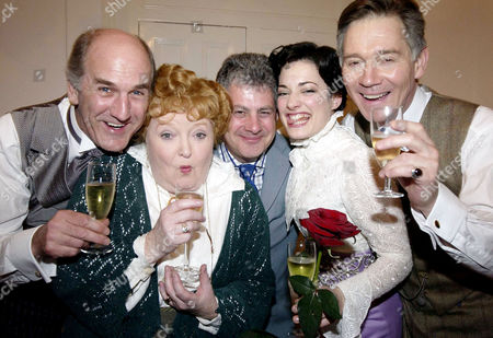 'My Fair Lady' New Cast Press Night at the Theatre Royal Drury Lane Russ Abbot Patsy Rowlands Cameron Mackintosh Laura Michelle Kelly and Anthony Andrews in the Dressing Rooms After the Performance