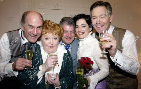 Stock Image of 'My Fair Lady' New Cast Press Night at the Theatre Royal Drury Lane Russ Abbot Patsy Rowlands Cameron Mackintosh Laura Michelle Kelly and Anthony Andrews in the Dressing Rooms After the Performance