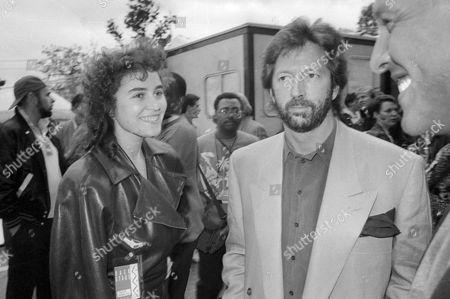 Nelson Mandela's 70th Birthday Tribute Concert at Wembley Stadium Eric Clapton with His Girlfriend Lory Del Santo