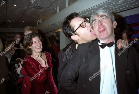 British Comedy Industry Awards Vic Reeves with His Wife Sarah Vincent? and Dermot Morgan