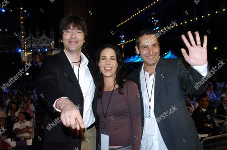 61st Venice Film Festival 2004 On the Lido at Venice World Premiere Screening of 'Sharks Tale' in St Marks Square Venice the Films Directors ? (l) & Vicky Jensen with Producer Bill Damaschke (r)