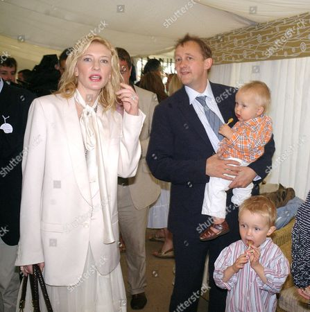 The Cartier International Polo Day at the Guards Polo Club Smiths Lawn Windsor Cate Blanchett with Her Husband Andrew Upton and Their Sons Dashiell John & Roman Robert