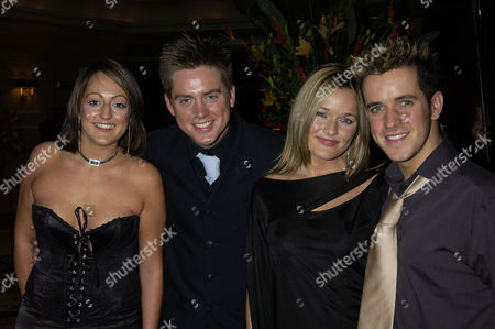 Stock Photo of British Academy Children's Film and Television Awards at the Park Lane Hilton Cbbc Presenters Richard Mccourt and Dominic Wood with His Girlfriend Sandi Lee Hughes