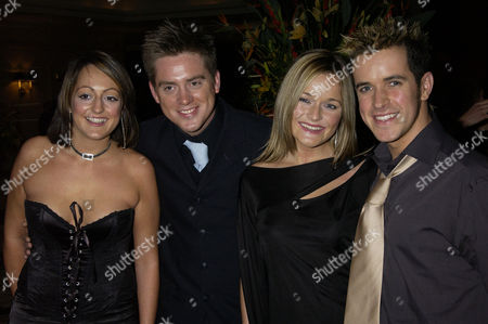 British Academy Children's Film and Television Awards at the Park Lane Hilton Cbbc Presenters Richard Mccourt and Dominic Wood with His Girlfriend Sandi Lee Hughes