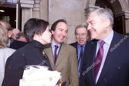 Memorial Service at St Johns Smith Square Conrad Black with His Wife Barbara Amiel and Also Charles Moore and David Frost