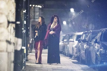 Ciara Janson and her sister Talia outside Måns Zelmerlöw's apartment