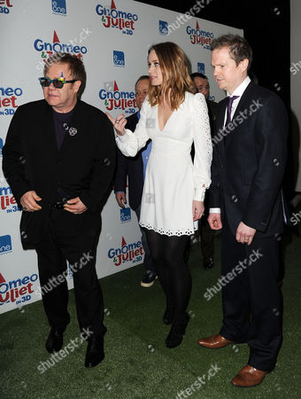 'Gnomeo and Juliet' Uk Premiere at the Odeon Leicester Square Elton John Emily Blunt and Steve Hamilton Shaw