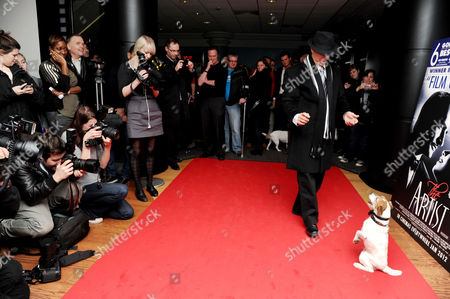'The Artist' Special Screening in Aid of Dogs Trust at the Vue Westend Uggie with His Trainer Omar Von Muller Pose For Photographers and Guests