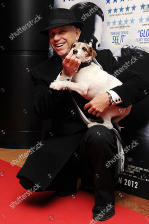 'The Artist' Special Screening in Aid of Dogs Trust at the Vue Westend Uggie with His Trainer Omar Von Muller