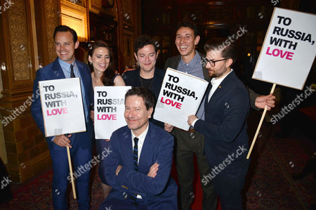 'The Pride' Press Night at Trafalgar Studios and Afterparty at Royal Horseguards Hotel Harry Hadden-paton Hayley Atwell Mathew Horne and Al Weaver with Jamie Lloyd and Alexi Kaye Campbell Pose with Placards Protesting Against Russia's Clampdown On Gay Rights