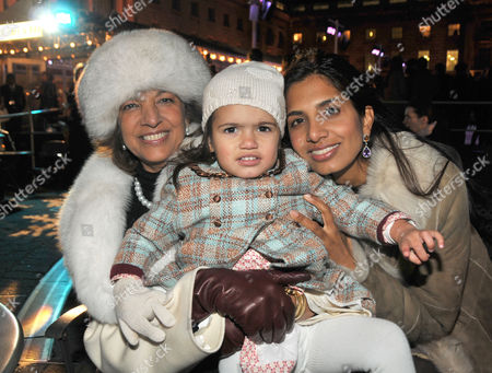 10th Anniversary Winter Party For Somerset House's Ice Rink Hosted by Tiffany's at Somerset House the Strand Divia Cadbury with Her Daughter and Mother Vimla Lalvani